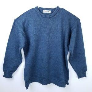 ✔Guernsey British Wool Sweater Size 46 Blue Knit